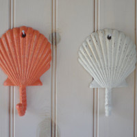 Beach Decor Cast Iron Scallop Seashell Wall Hook  - PICK YOUR COLOR