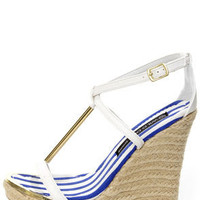 Wild Diva Lounge Madison 50B White T-Strap Espadrille Wedges
