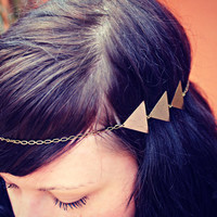 triangle chain head piece chain headband triangle by alapopjewelry