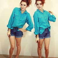 Blue Button Up Blouse M L | Sam Wish