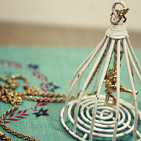 White Bird Cage Necklace | Sam Wish