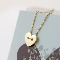 N0554GD // Heart Necklace  Gold // Bridesmaid Gift by queenspark