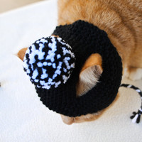 Pom Pom Cat Hat  Black and White by bitchknits on Etsy
