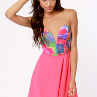 Remix and Match Strapless Hot Pink Print Dress