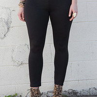 Black Plus Size Knit Tight Ankle Leggings   Tanny&#x27;s Couture LLC