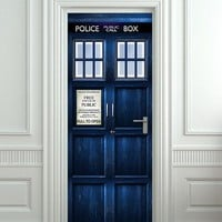 Door STICKER Tardis Doctor Dr Who Police box movie mural decole fi