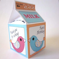 Birds Milk Carton Favor Box Pink and Blue birds PDF by katikamade