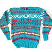 GAP Teal Cotton Ugly Ski Sweater Men&#x27;s Size Large (L)