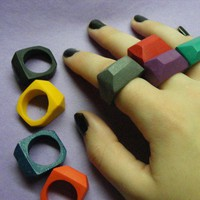 Coloring Crayon Rings set of 2 Custom Colors by OhMyLuckyStar