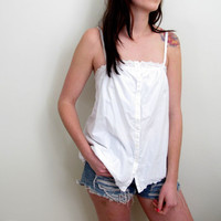 Vintage White Tank Tunic Summer Eyelet See Through Sheer Thin Hippie Bohemian