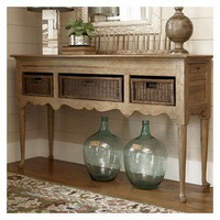 Paula Deen Home Down Home Sideboard and Mirror Set in Distressed Oatmeal Finish | Wayfair