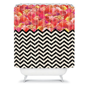 DENY Designs Home Accessories | Bianca Green Chevron Flora 1 Shower Curtain