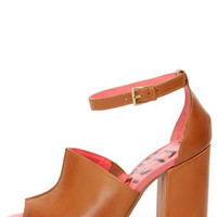 Kelsi Dagger Georgie Luggage Tan Vachetta Slide Heels