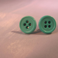 Button Earrings Mint Green Post Pierced by ConstantlyUnfolding