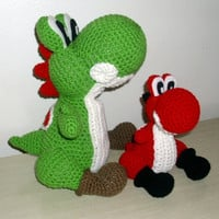 MINI RED YOSHI Amigurumi Plush Doll  Nintendo by JMcnallyDesigns