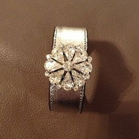 Silver Cuff Bracelet With Cubic Zirconia Flower 