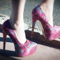 Rosette Elle-03 Tie Dye Denim Platform Pumps (Fuchsia) - Shoes 4 U Las Vegas
