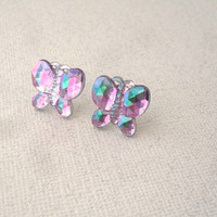 purple butterfly earrings / faceted rhinestone butterfly studs / aurora borealis purple