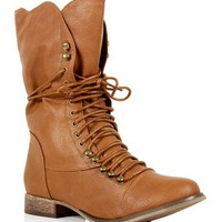 SALE-Tan Lace Up Oxford Boots