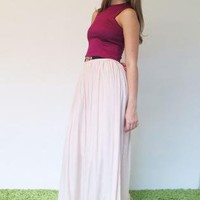 Basic Gathered Maxi Skirt