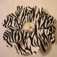 Zebra Petunia Flower Hair or Hat Clip
