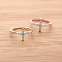 girlsluv.it - SIDEWAYS CROSS ring with crystals, 3 colors