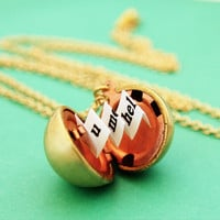 Secret Message Locket  Vintage Gold Ball by HeartworksByLori
