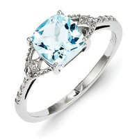 Sterling Silver Rhodium Plated Diamond and Sky Blue Topaz Ring: Jewelry: Amazon.com
