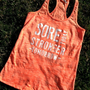Racerback Burnout Tank. Neon Orange. MEDIUM