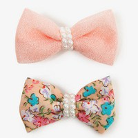 Pearlescent Bow Hair Clips | FOREVER 21 - 1026238940