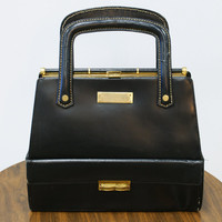 Vintage 1950s Large Black Handbag with Multiple Pockets and Bottom Storage Space