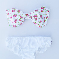Vintage Pink Floral Bow Bandeau Sunsuit Bikini style.DiVa Halter Neck. White ruffle panties and Sunkini Sunbathing. Sexy and cute.