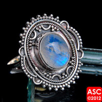 RAINBOW MOONSTONE 925 STERLING SILVER RING SIZE 8 1/4 JEWELRY