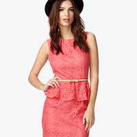 Lace Peplum Dress w/ Belt | FOREVER 21 - 2020545355