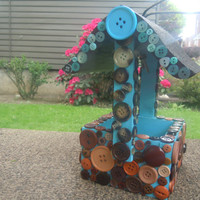 Blue and Brown Button Bird Feeder