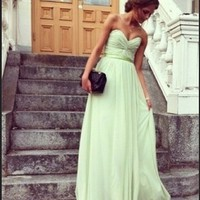 Adorable Sage A-line Sweetheart Floor Length Prom Dress
