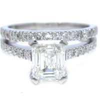 Emerald cut diamond engagement ring and band prong set by KNRINC