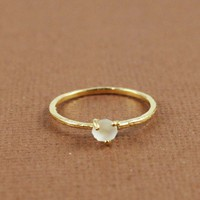 Gold Rough White Quartz Birthstone Ring April