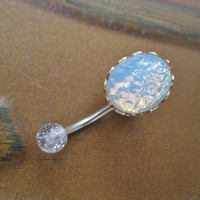 White Opal Belly Button Jewelry Stud Ring- Navel Piercing Bar Barbell