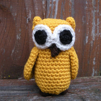 Small stuffed plush crochet owl in mustard yellow, MADE TO ORDER.
