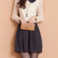 Doll Collar Hollow Knitted Polka Dot Dress XX0003