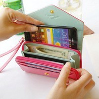 Pink Phone bag purse change purse Wallet With Card Pocket