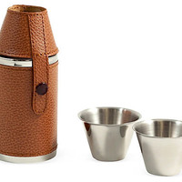 One Kings Lane - Gifts for Him - 6 oz. Flask w/Cups, Brown