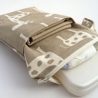 All-in-One Changing Kit - INCLUDES Changing Pad and Diaper Wristlet - Natural Giraffe