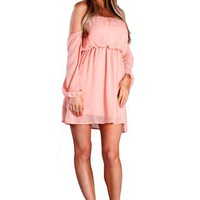 Wisteria Lane Off the Shoulder Dress - Light Pink -  $45.00 | Daily Chic Dresses | International Shipping