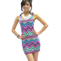 Unicorn Tribe Print Neon Aztec Tribal Chevron Dress