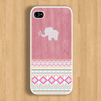 Pink Aztec Elephant on Wood Pattern Design Case : Iphone 4/4s case Iphone 5 case