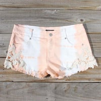 Tie Dye &amp; Lace Shorts in Peach, Women&#x27;s Sweet Bohemian Clothing