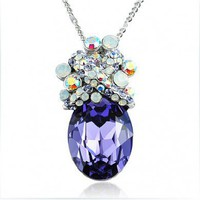 Diamond Purple Oval Swarovski Crystal Pendant Sterling Silver Necklace