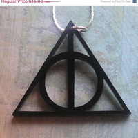 BOGO Blowout Sale Deathly Hallows Harry Potter  Necklace  Black Acrylic FREE SHIPPING